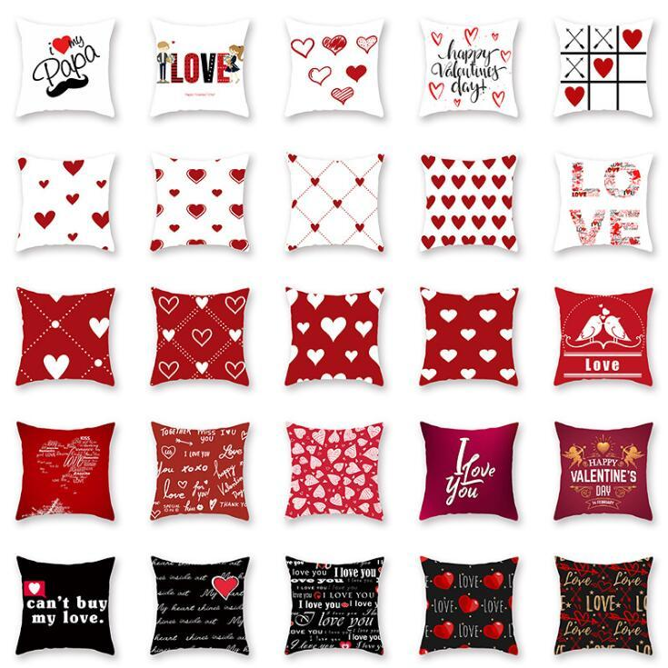 Happy Valentine's Day Pillowcase 45*45cm Cushion Pillow Cover My Lover Rose Flower Decoration for Home Decor Pillow Case 18*18inch