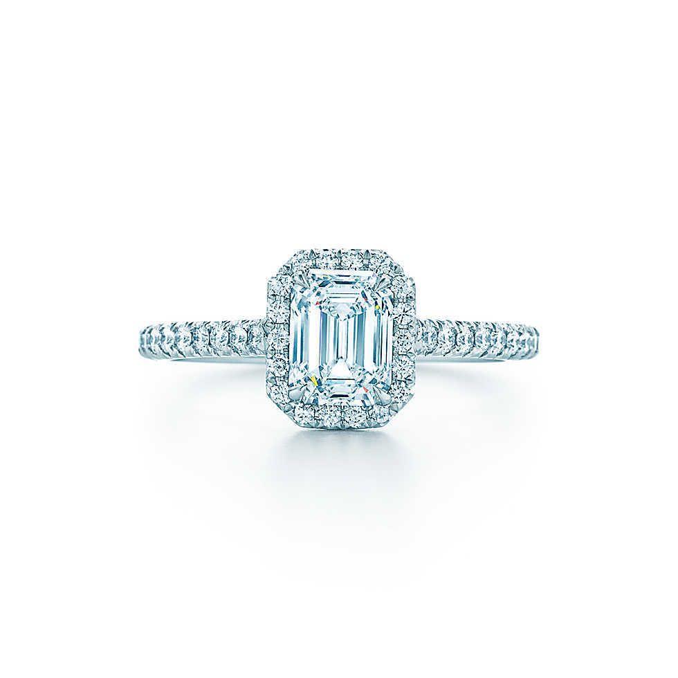 1CT Emerald Cut Diamond Ring Femininas AU750 ouro branco 18K anel de noivado Fine Jewelry aniversário presente para a esposa S200110