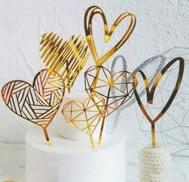 Forma de corazón de acrílico de oro Cake Topper Decoración del banquete de boda Geometría Cake Topper para la fiesta de cumpleaños Regalos encantadores