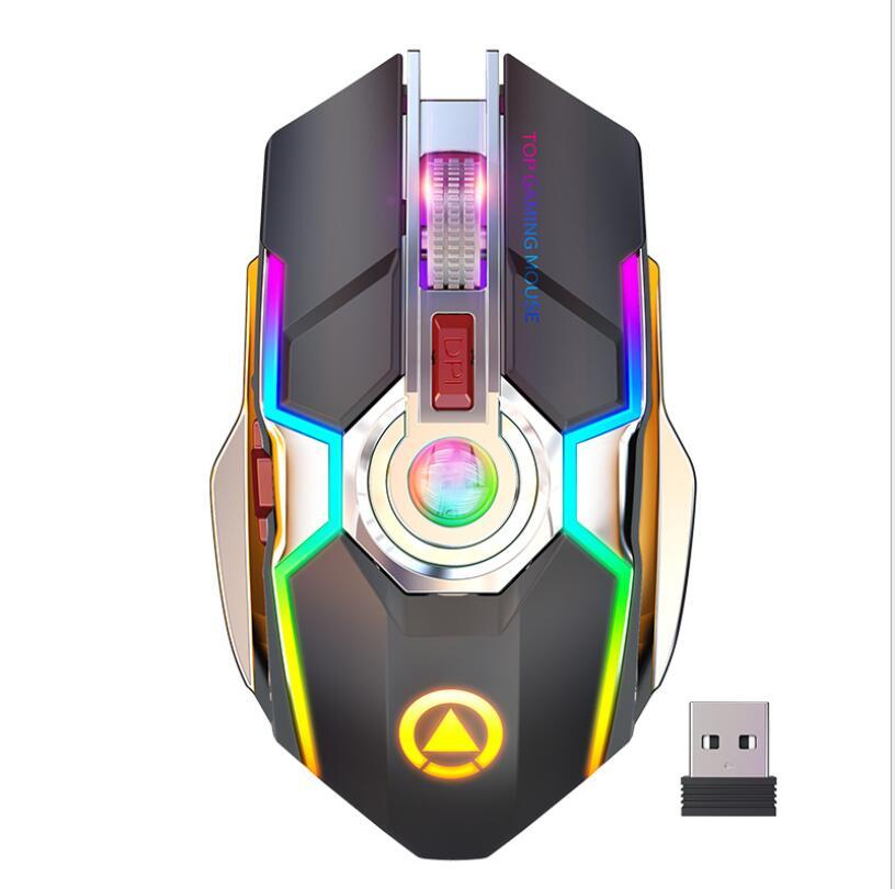 Rechargeable USB Wireless 2.4Ghz Esports RGB Backlit Gaming Mouse Notebook Desktop Mouse Button Long Standby USB Slient Mice A5 RGB lighting