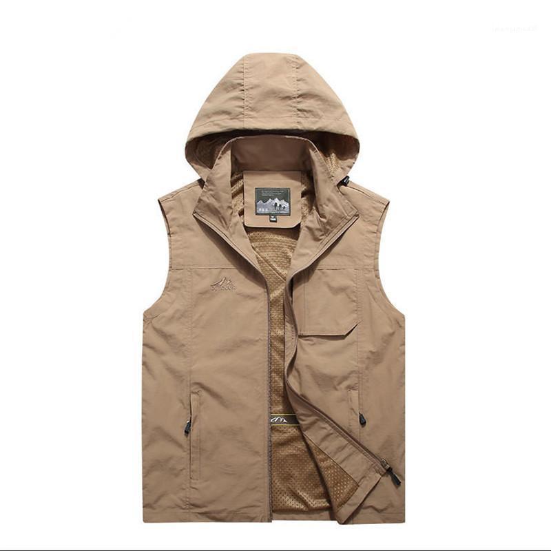 Молния Жилет с Hat и Карман Casual Pure Color пальто способа Mens вышивки Stand Collar дизайнер одежды