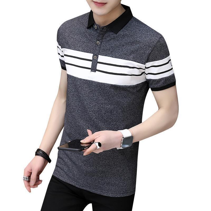 El diseñador de moda masculina camisas de polos 4XL verano camisetas de manga cortas multi colores más el tamaño de ropa para hombre rayada Turn collar de Down Tee