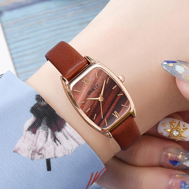Alegría mujeres de la marca relojes de oro rosa simple rectángulo de pulsera creativo de la manera vestido reloj pulsera de reloj Relogio