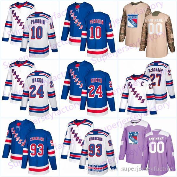 2019 Draft Rangers Jersey 24 Kaapo Kakko 10 Artemi Panarin #99 Wayne Gretzky 30 Henrik Lundqvist Women Youth Hockey Jerseys