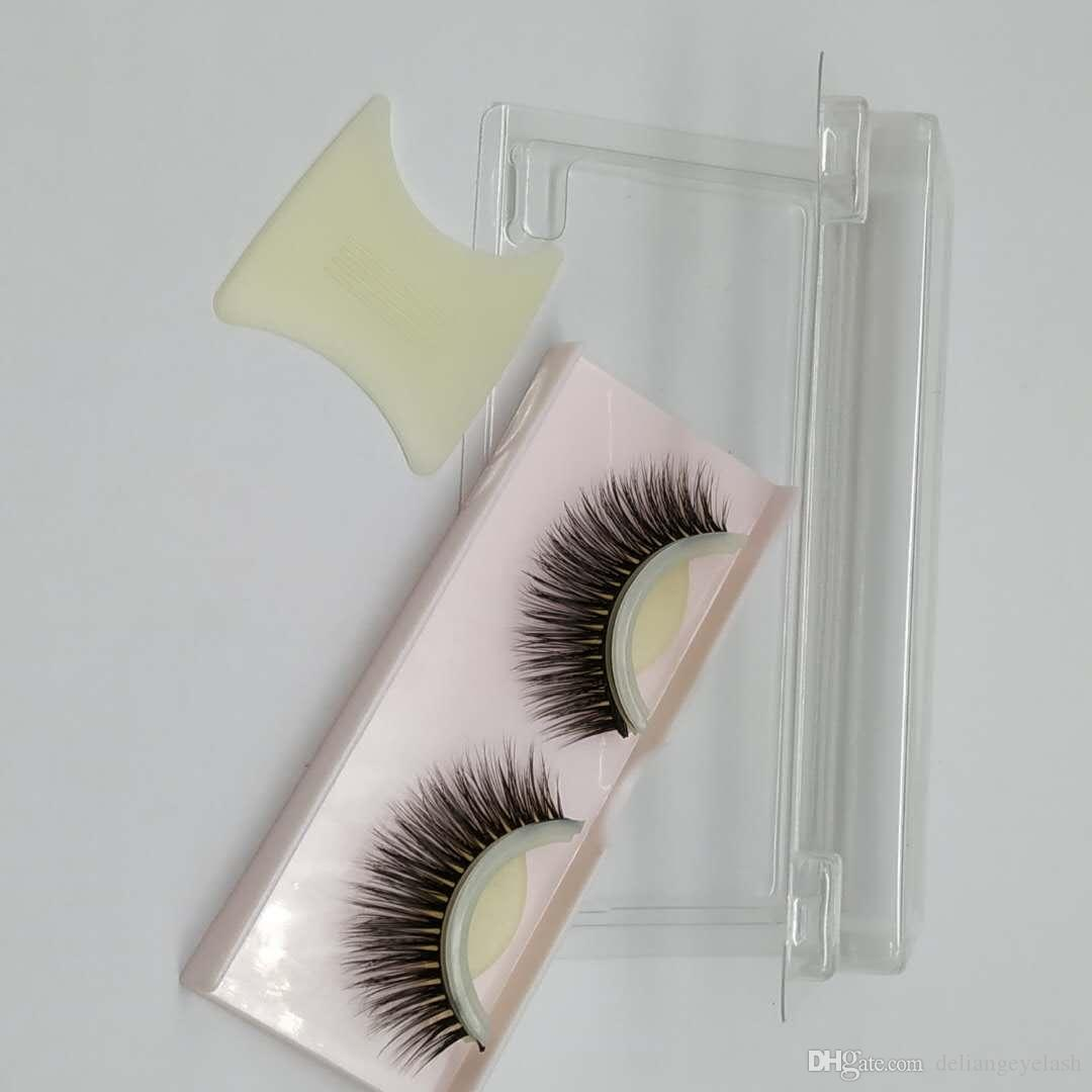 Pegado libre de pegamento pestañas postizas con tiras adhesivas tiras adhesivas dobles se pueden usar repetidamente Natural denso, delgado, suave y cómodo