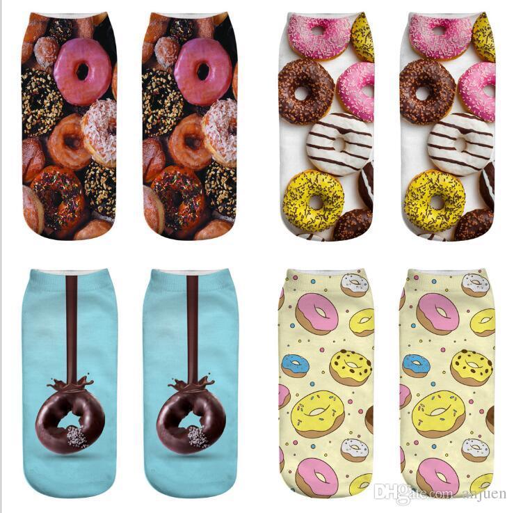 18styles Fashing 3D digital printed socks harajuku food donut socks cartoon 3D printed socks lollipop Fruit sock