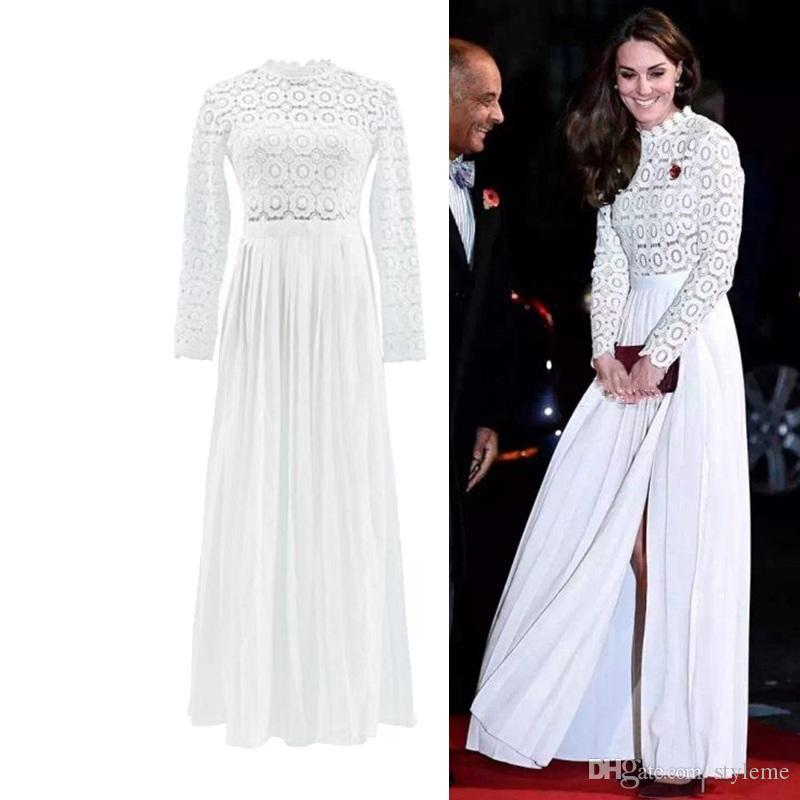 Kate Princess Style Spring Summer Long Maxi Lace Party Dresses 2020 Fashion Style Hollow Out Vintage Pleated Split Gowns