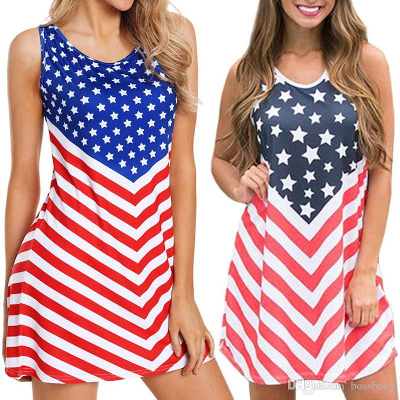 Ladies Patchwork Striped Dresses Beach Vintage Mini Stars Dresses American Flag Independence National Day USA 4th July Plus Size Dress S-3XL