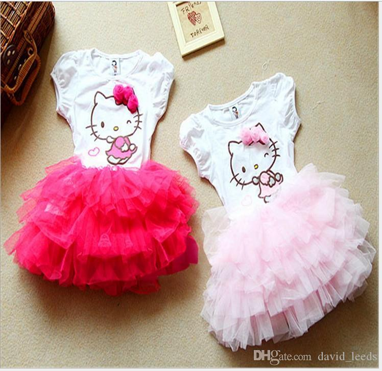 NEW Very Cute Hello Kitty Toddler Kids Girl Summer Tutu Dress FREE SHIPPING
