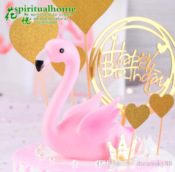 Flamingo Cake Hornear Decoración Artesanía de Silicona Decoración Creativa Animal Flamingo Cumpleaños Decoración de Dibujos Animados