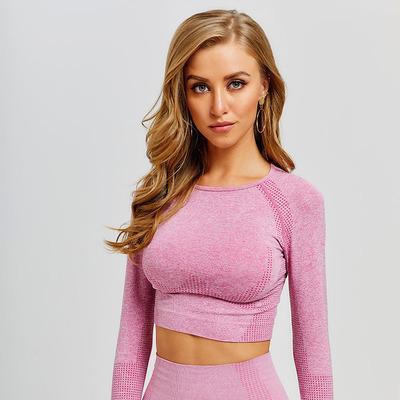 Sport Fitness Top Femmes sans couture Porter à manches longues sport pour femmes Gym Yoga Shirt Pouce Trou Aménagée Camisetas Deporte Mujer