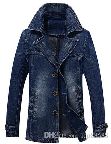 Primavera Autunno New Medium Long Abbigliamento da uomo Slim Youth Business Cowboy Giacca a vento jeans Cappotto Capispalla grandi