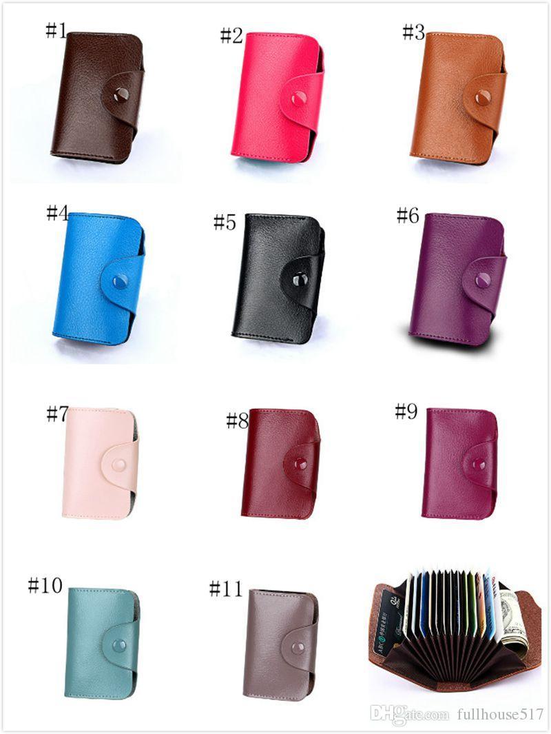 Großhandel Unisex Small Leder Kartenhalter Mit Knopf Slim Wallet Visitenkartenetui Organ Kartenhalter Aufbewahrungstaschen 15 Fächer 12 Fächer Von