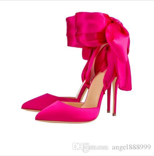 Décolleté a punta grande Scarpe alla moda in raso Papillon Fondo rosso 12 cm Tacchi alti Scarpe eleganti per banchetti Fucsia nera