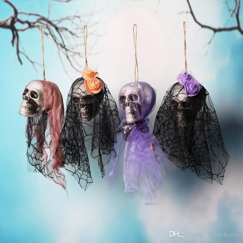 Festival Início / Bar Itens Decorativos Do Tema Do Dia Das Bruxas Rendas Gaze Crânio Decorativo Pendurado Ornamentos Partido Horrível Decorações Criativas