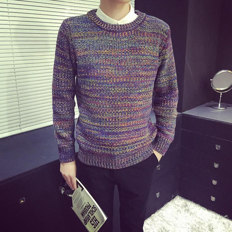 Más el tamaño de punto de los hombres de Otoño e Invierno de pelusa Línea de Restauración de las maneras antiguas del cuello redondo suéteres de ocio suéter masculino géneros de punto Y
