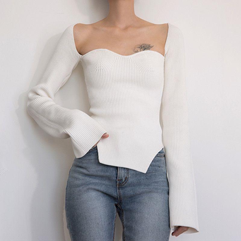 Neue sexy Frauen Strickpullover Side Split Curve Botting Top Langarm Strickwaren Pullover Kleidung Wild Stilvolles Freies Verschiffen