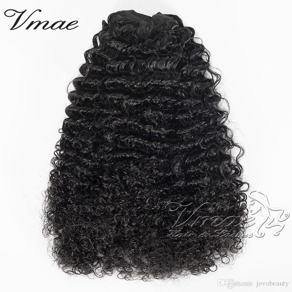 VMAE Hayır Perulu Bakire Ponytail Klipleri Elastik Band Kravatlar İpli Doğal Siyah 3A 3B 3C Kinky Kıvırcık Gerçek İnsan Saç Uzantıları Atma