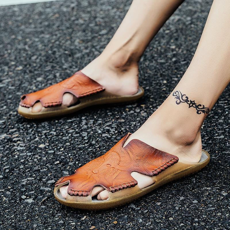 POLALI Yaz Terlik Erkekler Hollow Out Nefes Plaj Sandalet Ayakkabı erkekler Casual Flats Ayaklı zapatos Flops