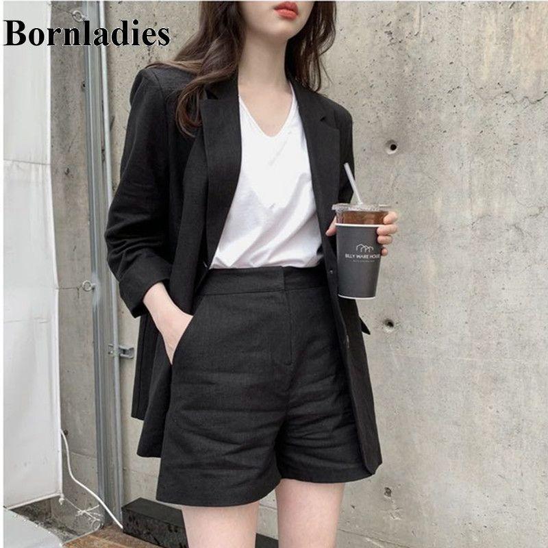 Bornladies Women Blazer Suit Elegant Office Lady Cotton and Linen Blazer+Short Pants Suits 2 Piece Sets Sunscreen Clothing