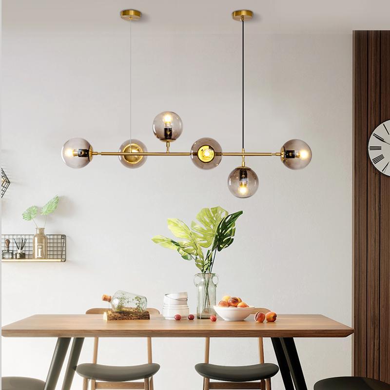 Nordic post-modernen minimalistisches Restaurant LED-Kronleuchter Licht Luxus-goldener Tisch Bar Geschäft Büro Glas-Kronleuchter E27