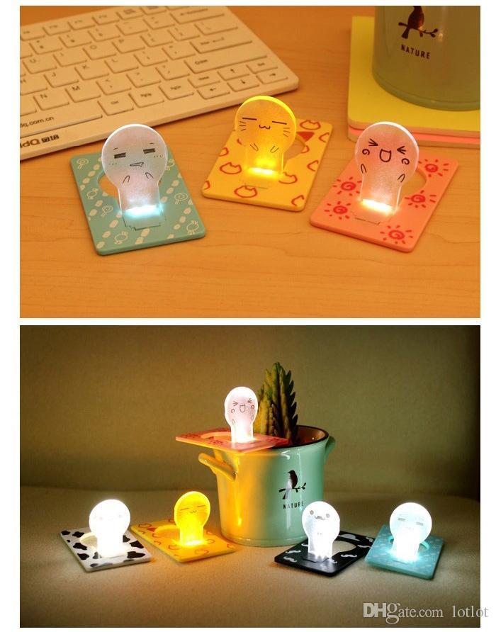 Nuevo diseño portátil venta caliente lindo interruptor de bolsillo plegable portátil LED tarjeta lámpara de noche poner en cartera monedero luz conveniente