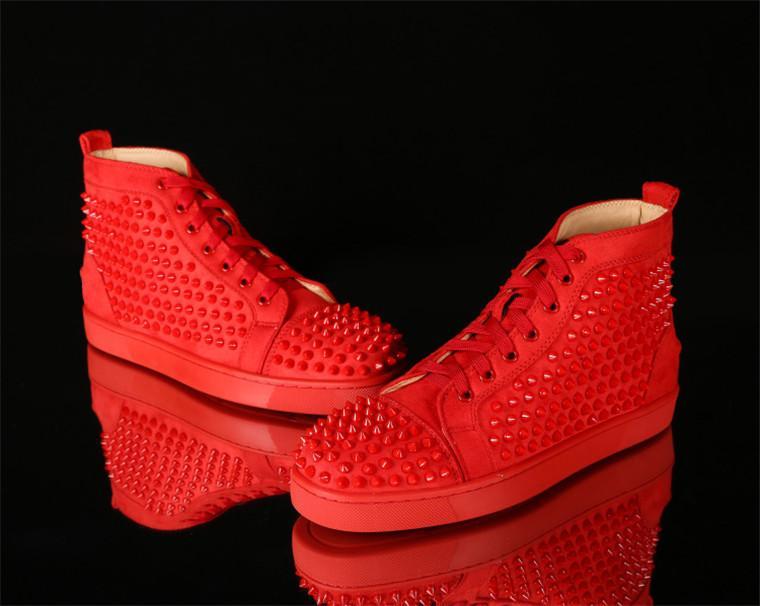 Blanc Noir Bleu Rouge semelles Hommes clouté Sneaker Bas Rouge De Mode Appartements Chaussures, De luxe À La Main En Cuir Véritable Parti Robe Gentleman Casual