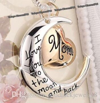 2019 joyería de la alta calidad del corazón Te Amo Para El regalo del día de la madre collar colgante luna y de regreso mamá joyería al por mayor ZJ-0903221