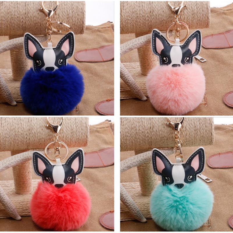 10pcs/Lot Cute Dog Keychain Fluffy Rabbit Fur French Bulldog Keychains Pompon Key Chain Pu Leather Holder Girls Bag Car Key Ring