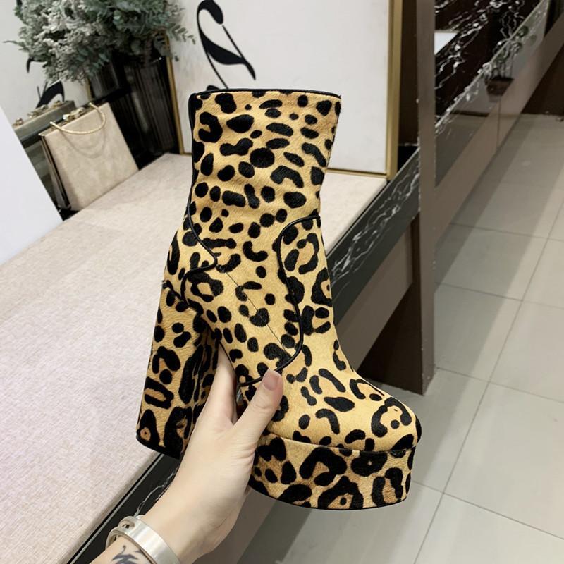 donne di vendita calde del leopardo alto tallone pattini della piattaforma stivaletti grano crine cuoio genuino di scarpe tacco grosso signora