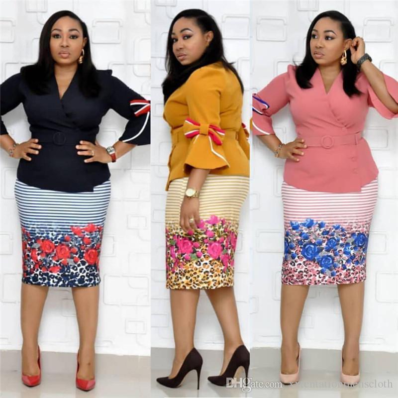 Womens Designer Trainingsanzüge Plus Size Floral bedruckte 2 Stück Kleid Schärpen Flare Sleeved V-Neck Suits Womens Trainingsanzüge