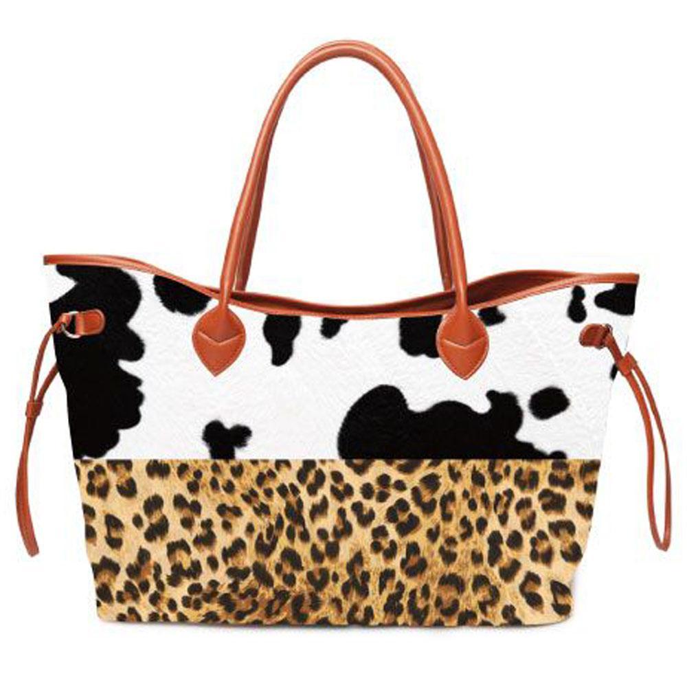 Patchwork Cow Tote Leopard Bullskull Carryall Handbag Women Stripes Endless String Bag Large Capacity Travel Bag DOM1061226