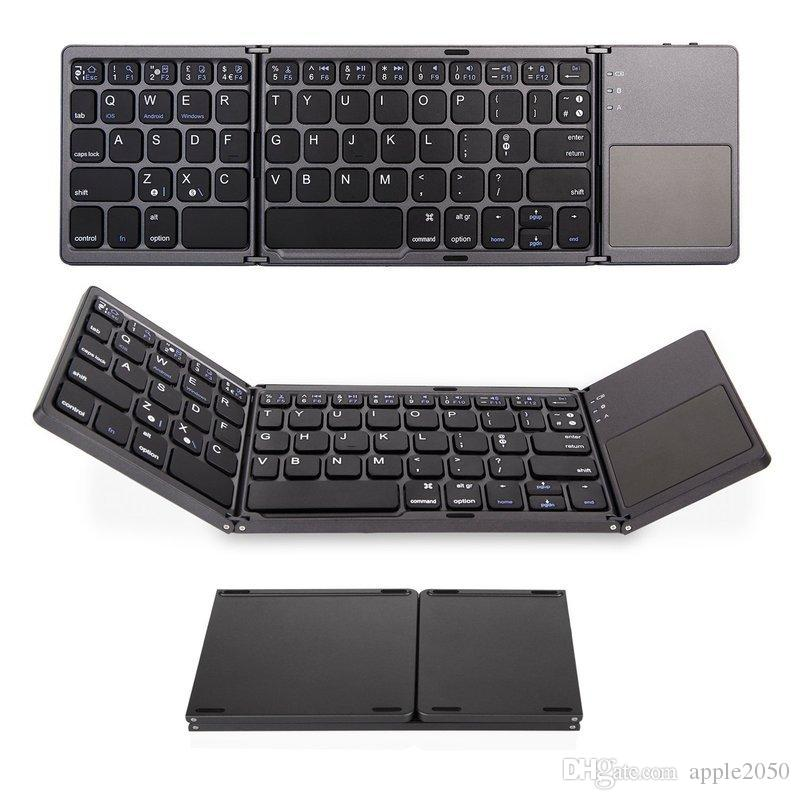 Teclado portátil plegable Bluetooth Wireless Mini plegable triple panel táctil del teclado para iOS / Android / Windows tableta del ipad