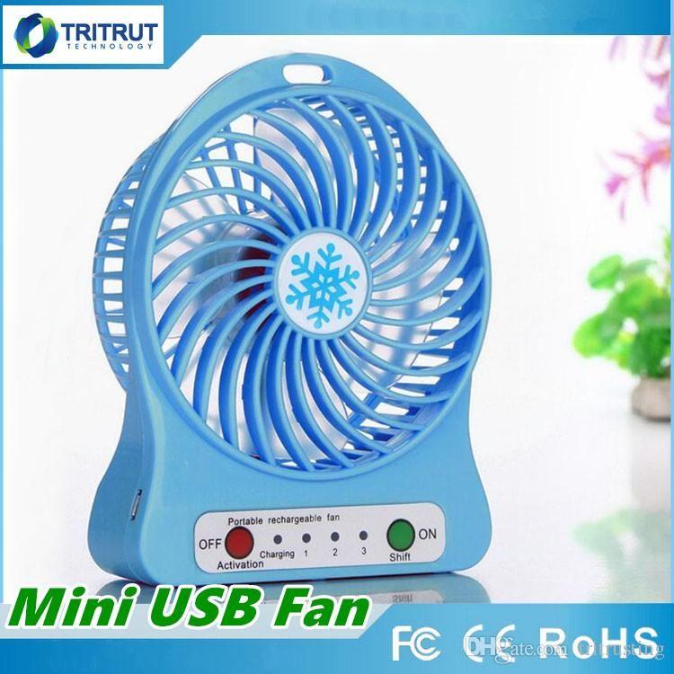 100% Test Şarj Edilebilir LED Işık Fan Hava Soğutucu Mini Masa USB Perakende Paketi Ile 18650 Pil Şarj Edilebilir Fanlar tablet Bilgisayar için