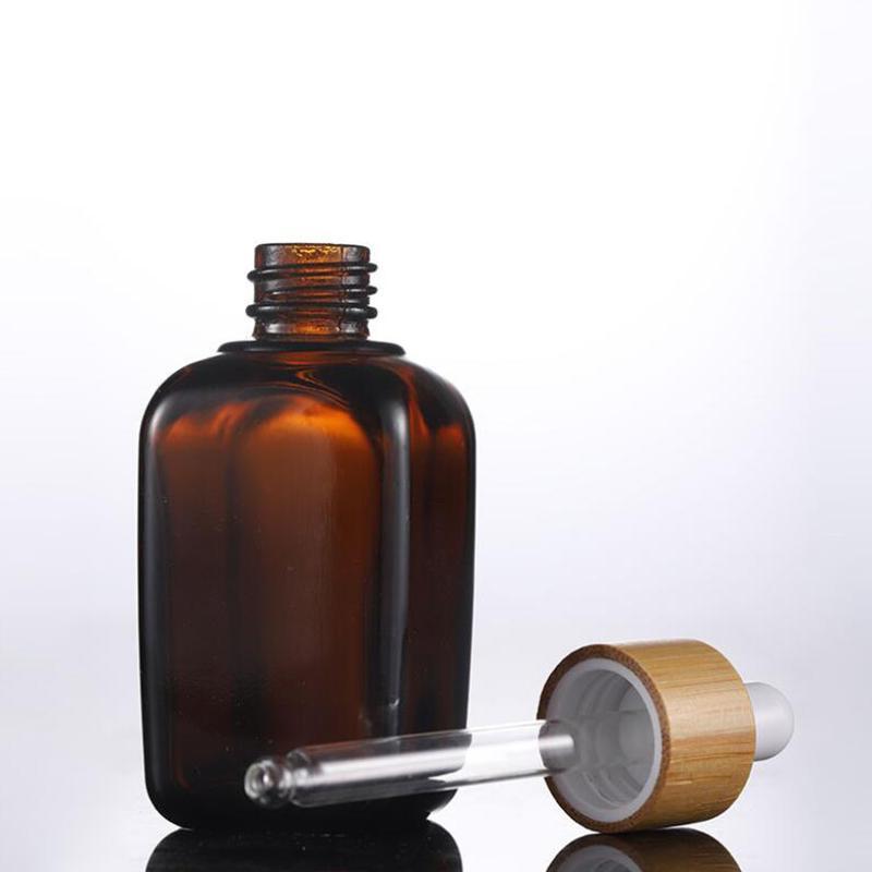 10ml 20ml 30ml 50ml 100ml frasco de vidro castanho Atacado Cosmetic Serum vidro Pipeta Recipientes de embalagem Com Tampão de bambu de madeira