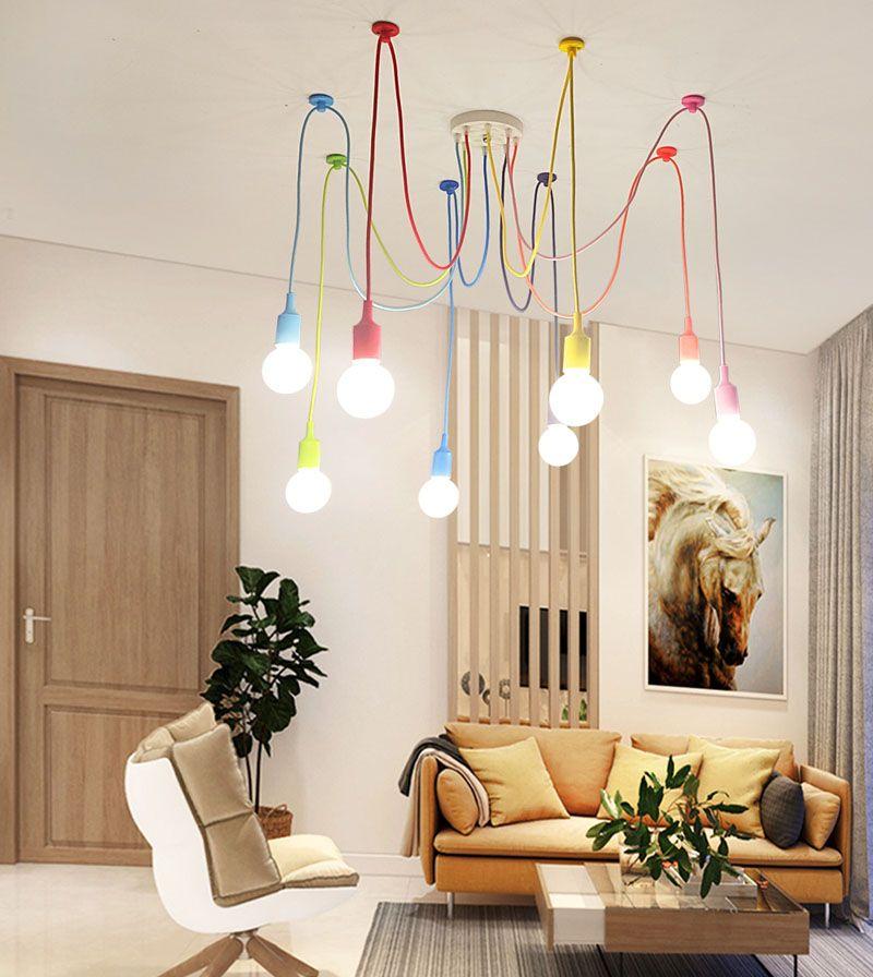 Christmas Gift Lights Modern E27 Art Colorful Pendant Lights Spider Chandelier Pendant Lamp Indoor Decoration Lamp