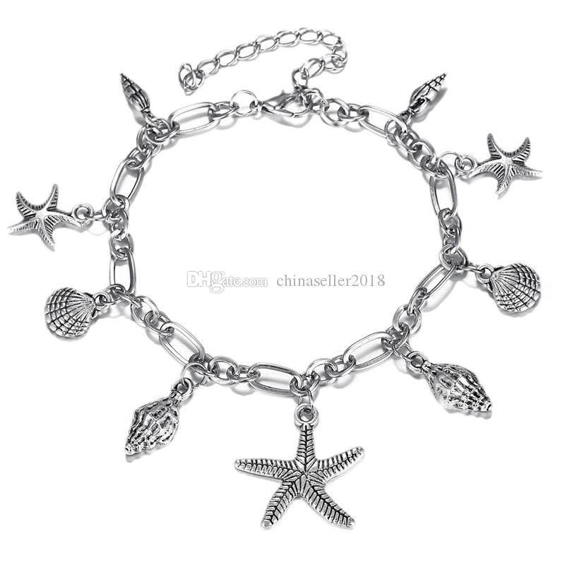 Bohème Étoile De Mer Coquillage Pendentif Cheville Pour La Mode Femmes Argent Couleur Conch Cheville Bracelets Sur La Jambe Boho Plage Accessoires
