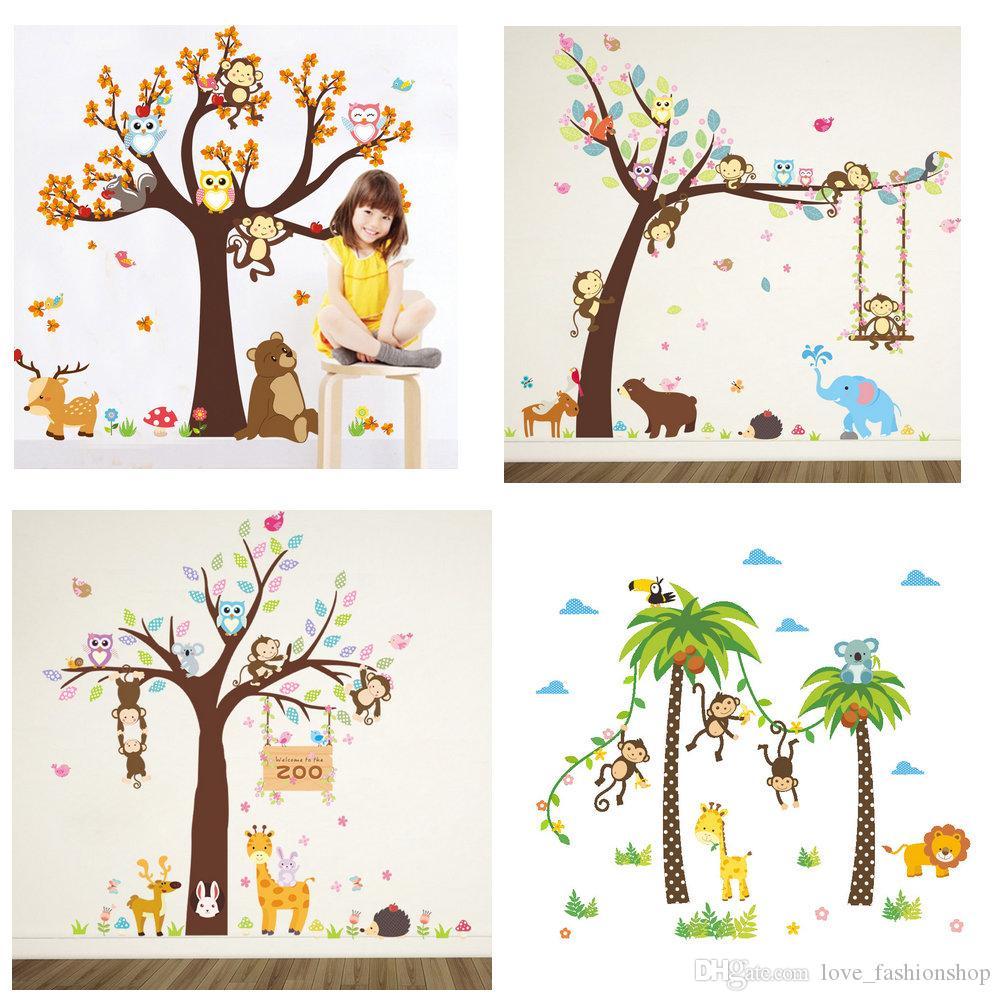 التجزئة 5 أنماط أطفال قرد ملصقات الحائط ل غرفة الحضانة الأطفال للإزالة ملصقات الحائط ورق الحائط ديكور المنزل ديكور حزب التموين