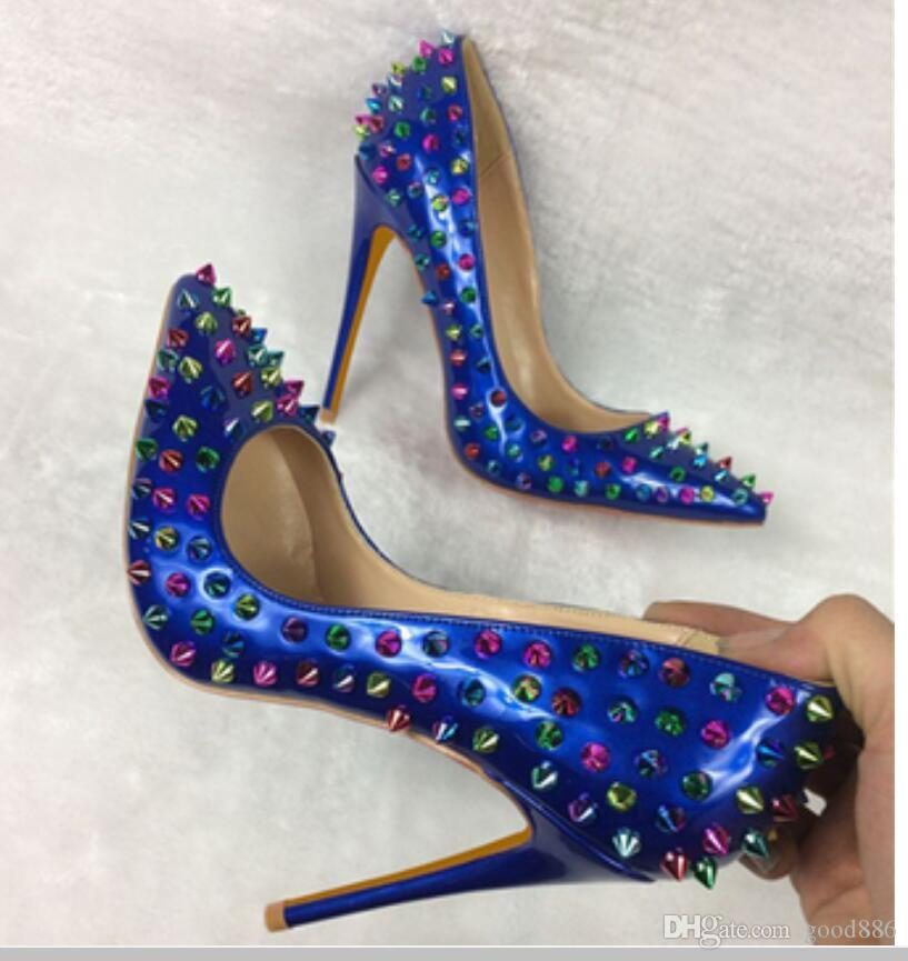 19 Schwarze Niete Frauen High Heel Schuhe Rosa Fine Ferse Höcker Single Schuhe Hochzeit Nachtclub Schuhe 8cm 12 cm 100mm große Größe 44 Blaue rote Pumpen