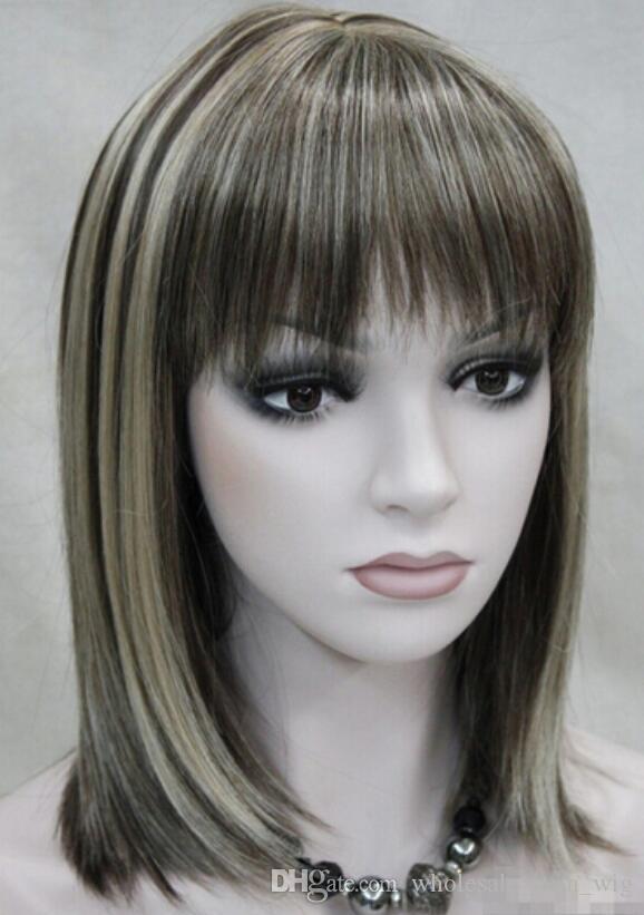 WIG LL 002341 Koyu Kahverengi Orta kısa Kadın Bayanlar Tam Hivision Günlük tam peruk