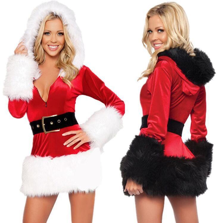 uniforme terno do Natal sexy sexy, Natal vestido Mostra do vestido, papel jogar vestido preto e branco Papai Noel