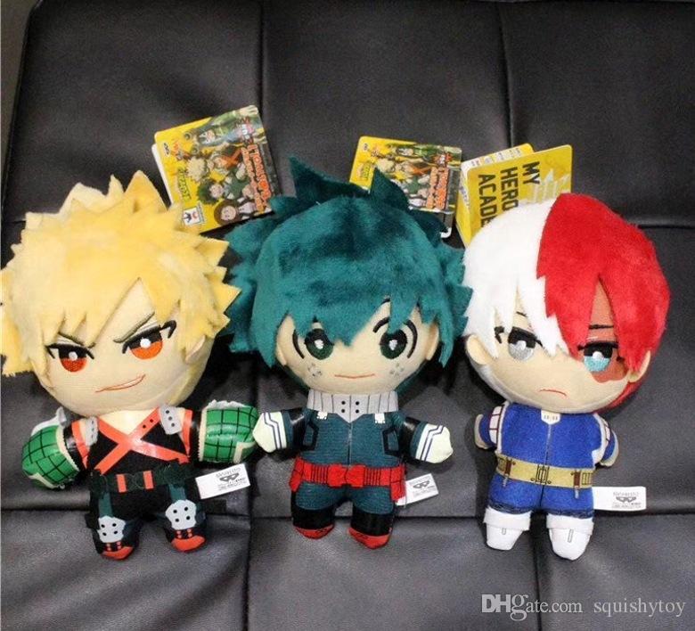 3 stili 15 cm My Hero Academia Bakugou Katsuki Todoroki Shoto Midoriya Izuku peluche portachiavi bambola figura TYQQ