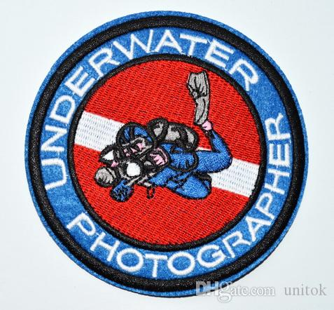 (Größe: ca. 9,9 cm) ~ UNDERWATER PHOTOGRAPHER Tauchen Punk Rockabilly Applique Eisen auf Patch