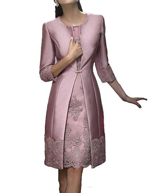 Gaine élégante courte mère Tenue de soirée avec la veste de soirée de satin dentelle robe de mariée de mère 2020 Invité robes de costume robe de mariée