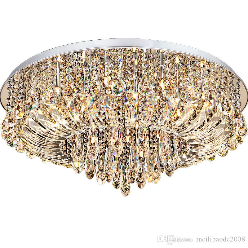 LED ceiling lamp Stepless dimming living room lamp crystal chandelier bedroom hall round headlights home atmosphere simple modern