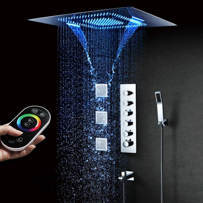 Banheiro luxuoso chuveiro Sistema High Flow termostática Led Duche Mixer Set 5 Função Showerhead Big Rain Shower massagem Waterfall 600 800 milímetros *
