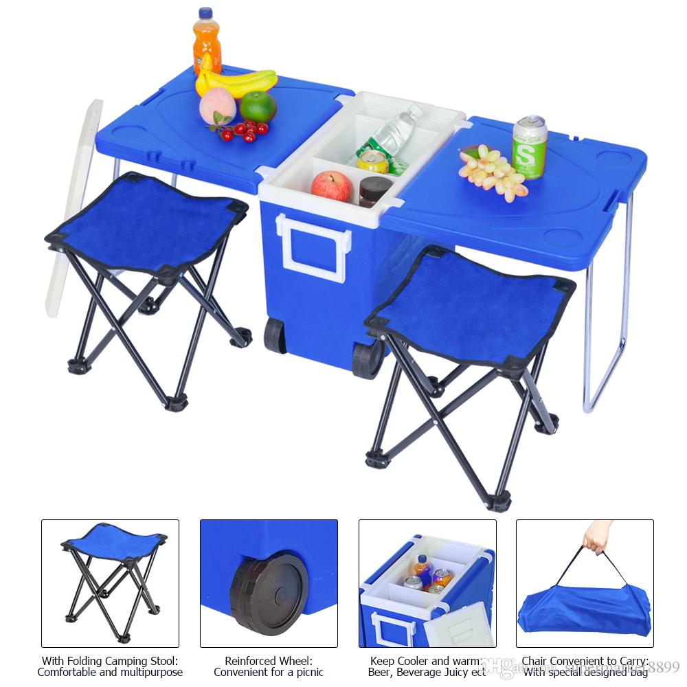 Multi-Function Ice Packs Insulated Beverage Rolling Cooler Warm, Picnic Camping Outdoor Table & 2 Portable Foldable Camping Fishing Chair St