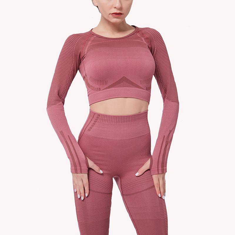 Frauen mit hohen Taille Sportswear Laufen Sport Jogger Female Training Gym Fitness-Trainingslaufsport Yoga Wear 1 Set