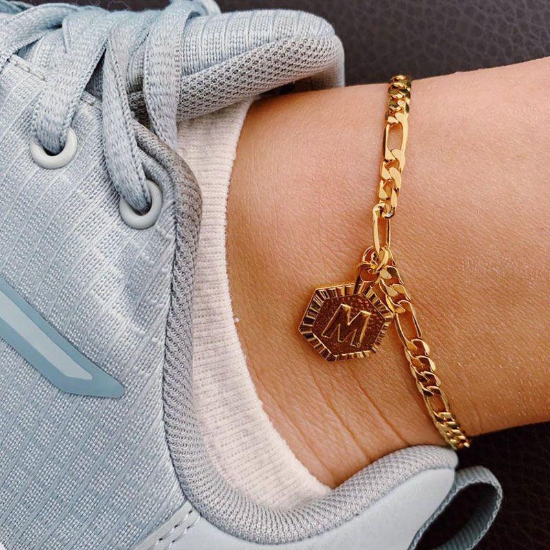 Joyería personalizada Hexágono alfabeto Pierna pulseras para las mujeres del pie de acero inoxidable Cadena Pies regalos de amistad inicial para el tobillo