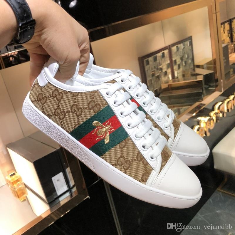 New Arrival Fashion Men Women Casual Shoes Luxury Designers Sneakers Shoes Top Quality Genuine Leather Bee Embroidered Size 35-45